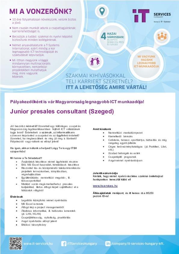 Junior presales consultant - IT Services Hungary Kft.